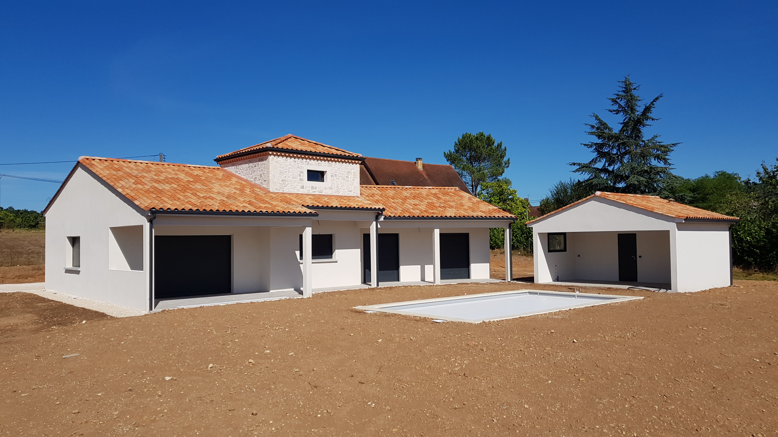 Maison, neuf, construction, anthracite, tour, Périgord, moderne