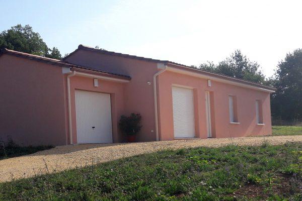 maison neuve, construction, Dordogne, crépi rose, Périgord